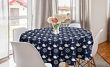 ABAKUHAUS Navy Blue Round Tablecloth, Maritime