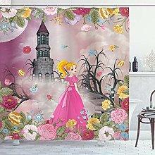 ABAKUHAUS Nursery Shower Curtain, Princess in