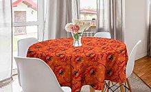 ABAKUHAUS Orange Round Tablecloth, Poppy Flower