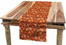 ABAKUHAUS Orange Table Runner, Retro Style Pattern