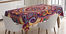 ABAKUHAUS Paisley Tablecloth, Flower Rug, Dining
