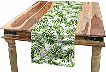 ABAKUHAUS Palm Leaf Table Runner, Exotic Pattern