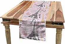 ABAKUHAUS Paris Table Runner, Eiffel Tower Sketch