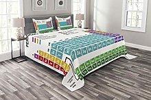ABAKUHAUS Periodic Table Bedspread Set, Modern