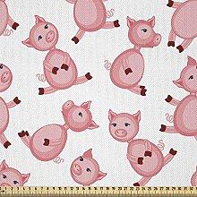 ABAKUHAUS Pig Fabric by The Yard, Cartoon Sitting