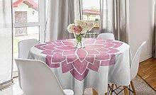 ABAKUHAUS Pink Mandala Round Tablecloth,