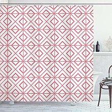 ABAKUHAUS Pink Shower Curtain, Vintage Retro Tile