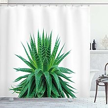 ABAKUHAUS Plant Shower Curtain, Medicinal Aloe