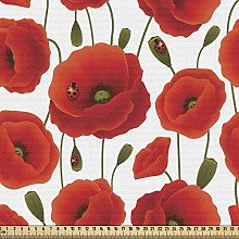ABAKUHAUS Poppy Fabric by The Yard, Spring Flowers