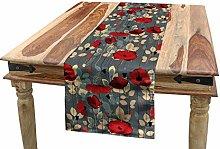 ABAKUHAUS Poppy Table Runner, Modern Floral