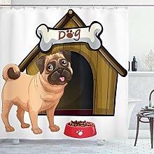 ABAKUHAUS Pug Shower Curtain, Dog House with a Pug