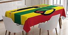 ABAKUHAUS Rasta Tablecloth, Iconic Barret Reggae