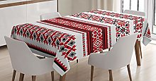 ABAKUHAUS Red Tablecloth, Ukrainian Accents,