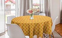 ABAKUHAUS Retro Round Tablecloth, Round Orange