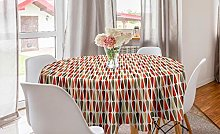 ABAKUHAUS Retro Round Tablecloth, Sixties and