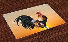 ABAKUHAUS Rooster Place Mats Set of 4, Farm Animal