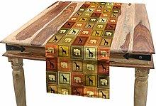 ABAKUHAUS Safari Table Runner, Animals Pattern,