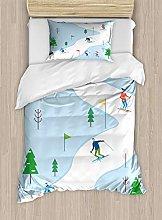 ABAKUHAUS Ski Pattern Duvet Cover Set, Digital