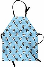 ABAKUHAUS Soccer Apron, Cute Panda Player Kicking