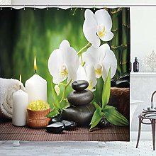 ABAKUHAUS Spa Shower Curtain, Stones with Orchid
