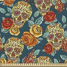ABAKUHAUS Sugar Skull Fabric by The Yard, Skulls