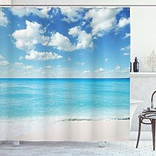 ABAKUHAUS Summer Shower Curtain, Exotic Beach with