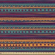 ABAKUHAUS Tribal Fabric by The Yard, Striped Retro