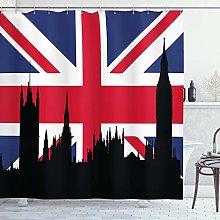 ABAKUHAUS Union Jack Shower Curtain, Historic