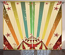 ABAKUHAUS Vintage Rainbow Curtains, Old Circus