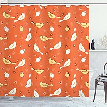 ABAKUHAUS Vintage Shower Curtain, Birds with Heart