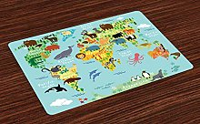 ABAKUHAUS Wanderlust Place Mats Set of 4, Animal