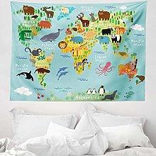 ABAKUHAUS Wanderlust Tapestry, Animal Map of the