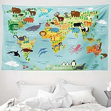 ABAKUHAUS Wanderlust Tapestry, Animal Map of the