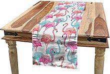 ABAKUHAUS Watercolor Table Runner, Flamingos in