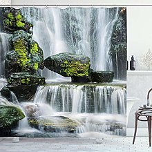 ABAKUHAUS Waterfall Shower Curtain, Waterfall with