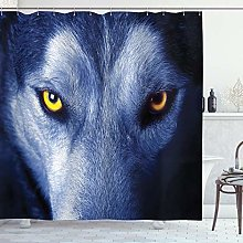 ABAKUHAUS Wolf Shower Curtain, Wild Animal with an
