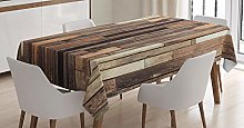 ABAKUHAUS Wooden Tablecloth, Brown Old Hardwood