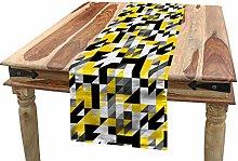 ABAKUHAUS Yellow and White Table Runner, Geometric