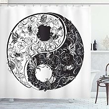 ABAKUHAUS Yin Yang Shower Curtain, Ornamented with