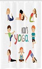 ABAKUHAUS Yoga Stall Shower Curtain, Gymnastics