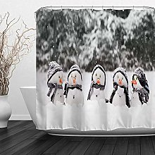 Abaysto Christmas Snowman Shower Curtain Set with