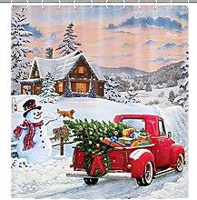 Abaysto Christmas Snowman Shower Curtain