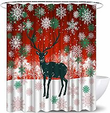 Abaysto Elk Shower Curtain Winter Theme Deer with
