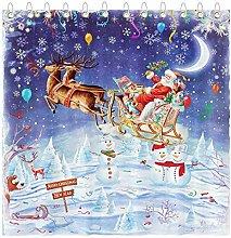 Abaysto Santa Reindeer Shower Curtain Set with 12