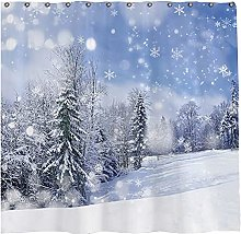 Abaysto Winter Shower Curtain Set with 12 Hooks