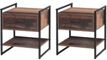 Abbey 2x Bedside Cabinet Bedroom Nightstand Table