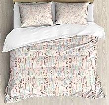 ABC Duvet Cover Set, Abstract Soft Toned Letters