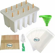Abkshine Ice Lolly Moulds Silicone,10-Cavity