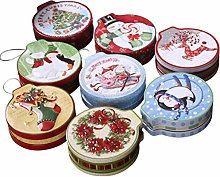 ABOOFAN Christmas Round Tinplate Candy Box with