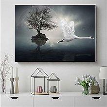 Abstarct Painting White Flying Swan Bird Nature